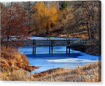 Canvas Print featuring the photograph Bridge Over Icy Waters by Elizabeth Winter