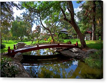 Canvas Print featuring the photograph Bridge Over Japanese Gardens Tea House by Jerry Cowart