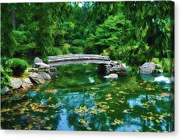 Bridge Over Koi Pond Canvas Print by Bill Cannon