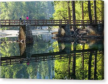 Bridge Over Merced River Canvas Print by Ashley Cooper
