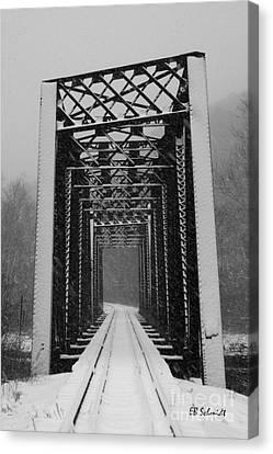 Bridge Over Oil Creek Canvas Print by E B Schmidt