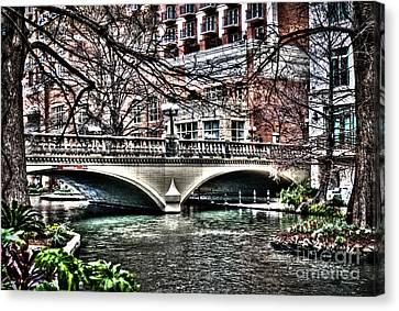 Canvas Print featuring the photograph Bridge Over San Antonio River by Deborah Klubertanz