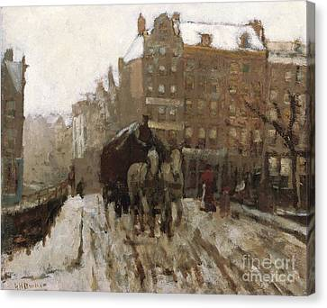 Bridge Over Singel Canal By The Paleisstraat Canvas Print by Georg Hendrik Breitner