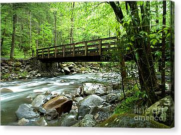 Bridge Over The Little Pigeon River Canvas Print by Glenn Morimoto