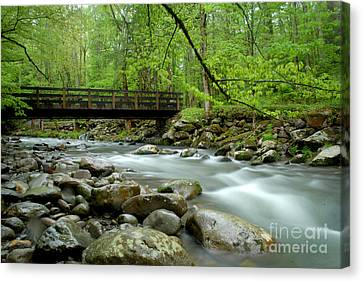 Bridge Over The Pigeon River Canvas Print by Glenn Morimoto
