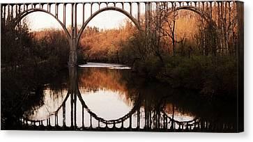 Bridge Over The River Cuyahoga Canvas Print by Patricia Januszkiewicz