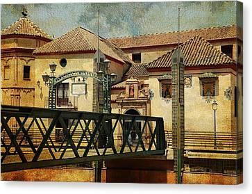 Bridge Over The River Guadalmedina In Malaga I. Spain Canvas Print by Jenny Rainbow