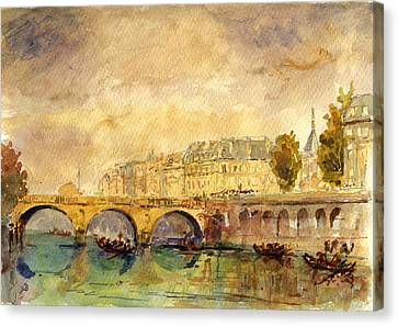 Bridge Over The Seine Paris. Canvas Print by Juan  Bosco