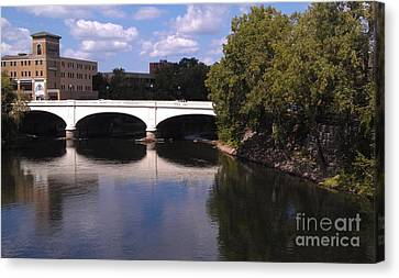 Bridge Over The St. Joseph River  --  South Bend Canvas Print by Anna Lisa Yoder