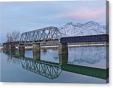 Bridge Over Tranquil Waters In Kamloops British Columbia Canvas Print