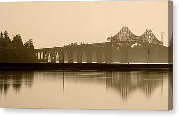 Canvas Print featuring the photograph Bridge Reflection In Sepia by Katie Wing Vigil