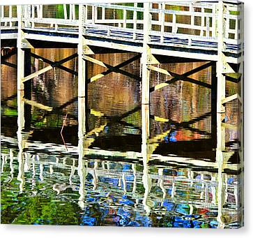Canvas Print featuring the photograph Bridge Reflections by John Harding