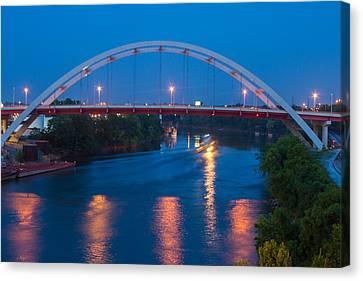 Bridge Reflections Canvas Print by Robert Hebert