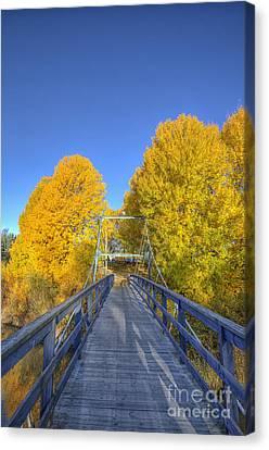Bridge To Autumn Canvas Print by Veikko Suikkanen