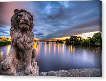 Bridge To Czech Village In Cedar Rapids At Sunset Canvas Print