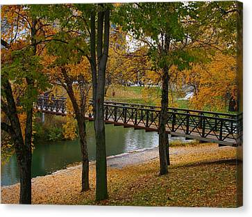 Canvas Print featuring the photograph Bridge To Fall by Elizabeth Winter