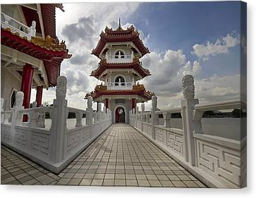 Bridge To Pagoda At Chinese Garden Canvas Print by David Gn