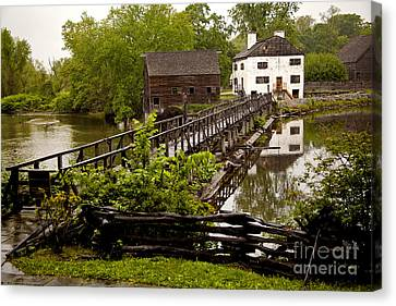 Canvas Print featuring the photograph Bridge To Philipsburg Manor Mill House by Jerry Cowart