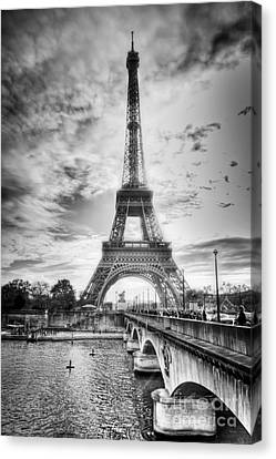 Canvas Print featuring the photograph Bridge To The Eiffel Tower by John Wadleigh