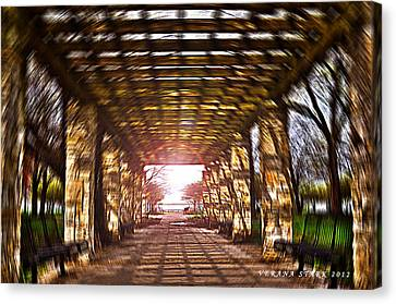 Canvas Print featuring the photograph Bridge To The Light From The Series The Imprint Of Man In Nature by Verana Stark