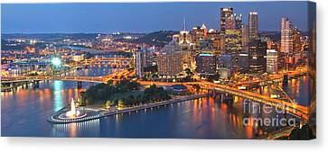 Bridge To The Pittsburgh Skyline Canvas Print by Adam Jewell