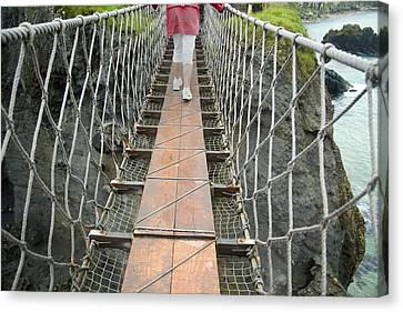Bridge Walk Carrick-a-rede Northern Ireland Canvas Print by Betsy Knapp