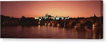 Bridge With A Church And A Castle Canvas Print