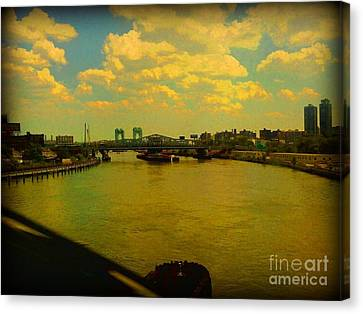 Canvas Print featuring the photograph Bridge With Puffy Clouds by Miriam Danar