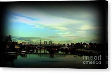 Canvas Print featuring the photograph Bridge With White Clouds Vignette by Miriam Danar