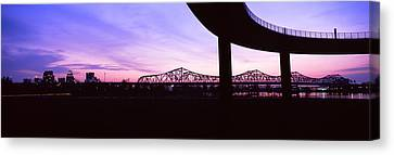 Bridges In A City At Dusk, Louisville Canvas Print by Panoramic Images