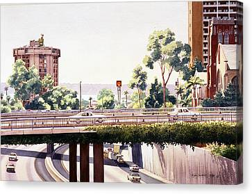 Eucalyptus Canvas Print - Bridges Over Rt 5 Downtown San Diego by Mary Helmreich
