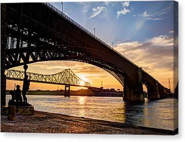 Hyatt Hotel Canvas Print - Bridges Over The Mississippi by Gregory Ballos