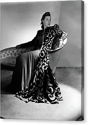 Chaise Canvas Print - Bridget Bate Tichenor Sitting On A Chaise Lounge by Horst P. Horst