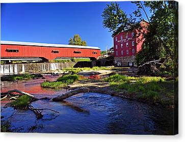 Bridgeton Covered Bridge 4 Canvas Print by Marty Koch