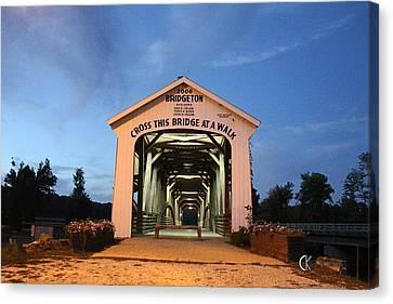Bridgeton Covered Bridge At Twilight Canvas Print by Clayton Kelley