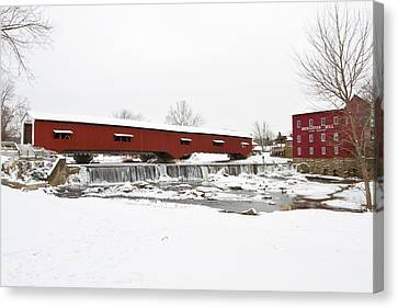 Bridgeton Covered Bridge In Winter Canvas Print by Panoramic Images