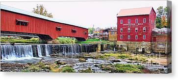 Bridgeton Mill And Covered Bridge Canvas Print by Jack Schultz
