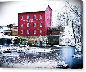 Bridgeton Mill In Winter Canvas Print by Virginia Folkman
