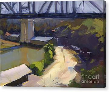 Canvas Print featuring the painting Bridging Gaps After Colley Whisson by Nancy  Parsons
