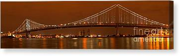 Ben Franklin Canvas Print - Bridging New Jersey And Pennsylvania by Adam Jewell