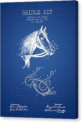 Bridle Bit Patent From 1897 - Blueprint Canvas Print