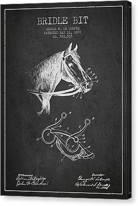 Horse Stable Canvas Print - Bridle Bit Patent From 1897 - Charcoal by Aged Pixel