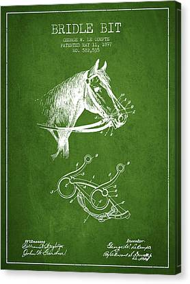 Bridle Bit Patent From 1897 - Green Canvas Print by Aged Pixel