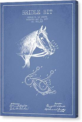 Bridle Bit Patent From 1897 - Light Blue Canvas Print