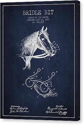 Bridle Bit Patent From 1897 - Navy Blue Canvas Print by Aged Pixel