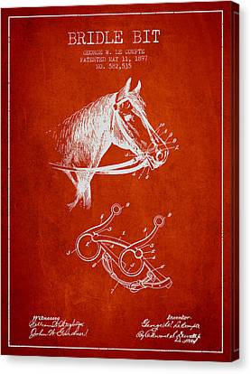 Bridle Bit Patent From 1897 - Red Canvas Print by Aged Pixel