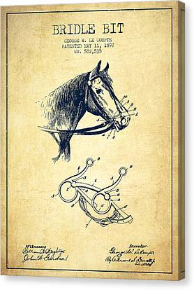 Horse Stable Canvas Print - Bridle Bit Patent From 1897 - Vintage by Aged Pixel