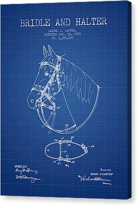 Horse Stable Canvas Print - Bridle Halter Patent From 1920 - Blueprint by Aged Pixel