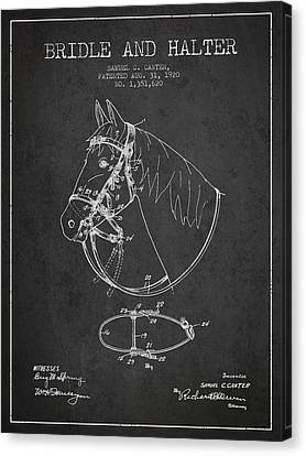 Bridle Halter Patent From 1920 - Charcoal Canvas Print