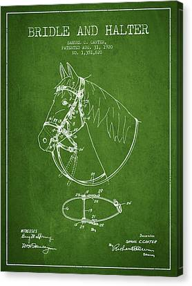 Horse Stable Canvas Print - Bridle Halter Patent From 1920 - Green by Aged Pixel